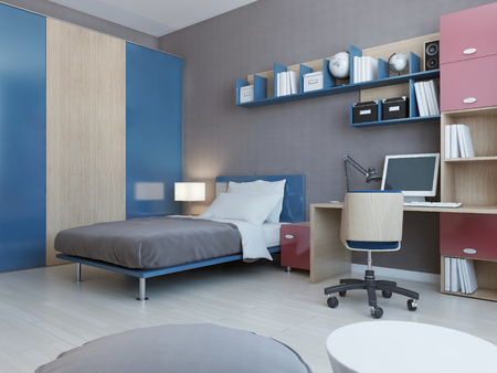 View of teenagers bedroom in red and blue colors. Light grey ...