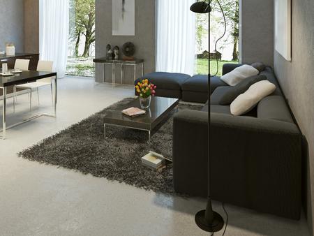 Living room high-tech style. 3d render