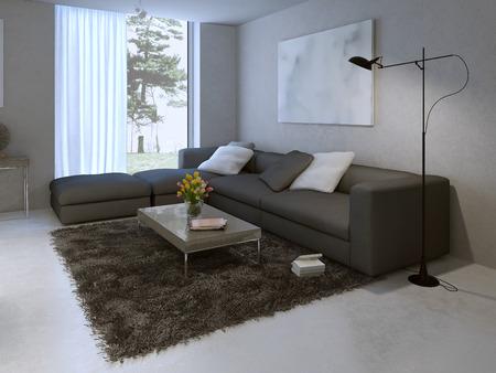 Modern living room design. 3d render