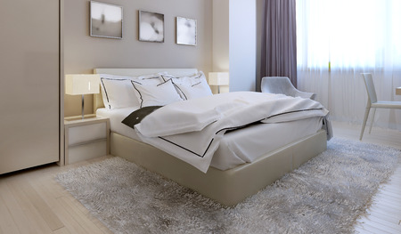Photo pour Bedroom modern style. 3d render - image libre de droit