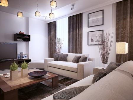 Foto de Living room modern style, 3d images - Imagen libre de derechos