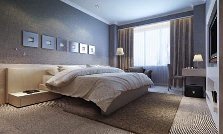 Photo pour bedroom interior, modern style. 3d images - image libre de droit