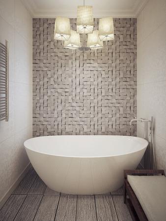 Photo pour Bathtub in a modern bathroom. 3d render. - image libre de droit