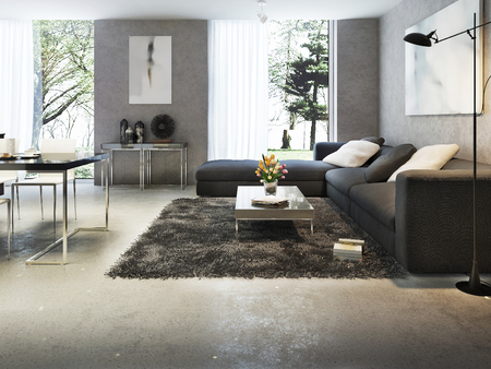Photo pour Modern interior of living room, 3d images - image libre de droit