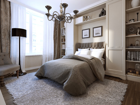 Bedroom art deco style, 3d image