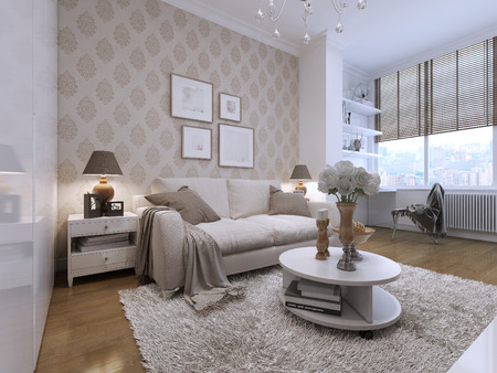 Photo pour Guest room with a beautiful and comfortable sofas in the art deco style. Two bedside tables with the lamps. Low stlik with the decor. 3D render. - image libre de droit