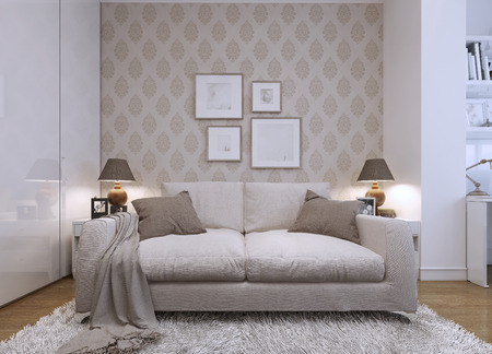 Beige sofa in the living room in a modern style. Wallpaper on the walls with a pattern. The artwork on the wall. 3D render.