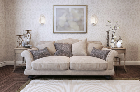 Sofa in classic style. 3d render