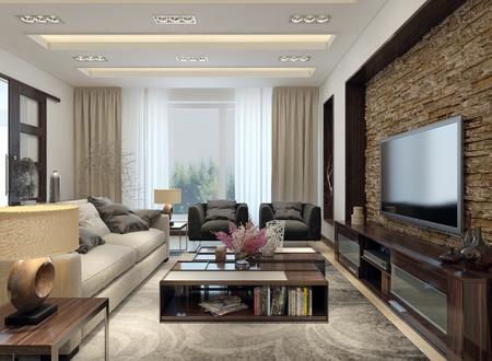 Foto de Living room modern style. 3D images - Imagen libre de derechos