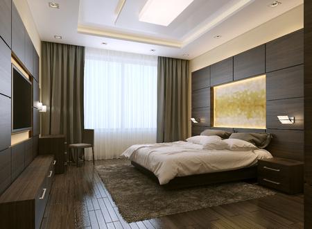Photo pour Bedroom modern style, 3d images - image libre de droit