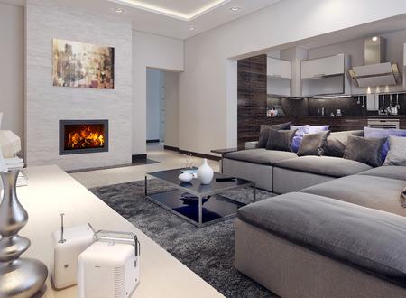 Foto de Living room contemporary style, 3D images - Imagen libre de derechos