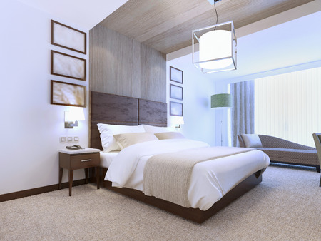 Bright interior of contemporary bedroom for romantic natures. 3D render