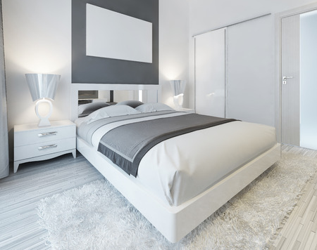 Foto de Bedroom in contemporary style in white and gray colors. Master bedroom with sliding wardrobe and mockup poster on the wall. 3D render. - Imagen libre de derechos
