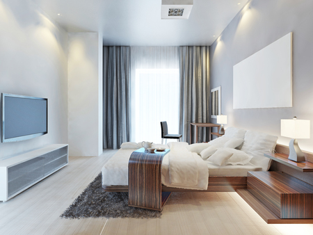 Photo for Design bedroom Contemporary-style room with wooden furniture Zebrano and white interiors and textiles. The bedroom has a large window and TV console in bright colors. 3D render. - Royalty Free Image