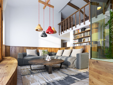 Modern living room in a loft style. Living room with corner ...