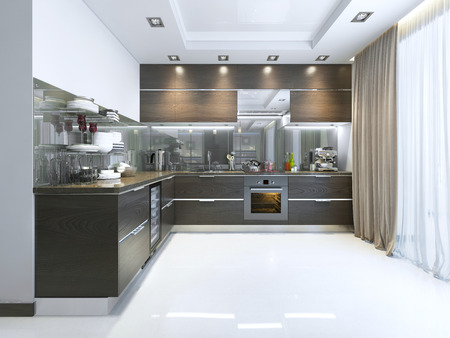 Photo pour Kitchen-Contemporary in brown with white walls and marble floors. 3D render. - image libre de droit