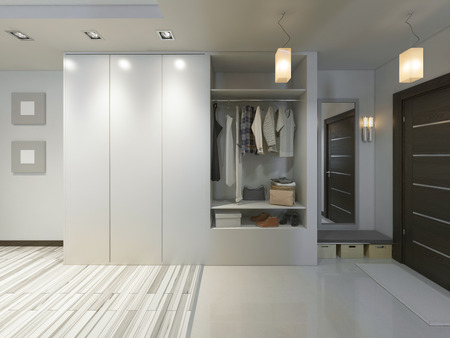 Photo pour Hall with a corridor in Contemporary style with a wardrobe and a sliding wardrobe. 3D render. - image libre de droit