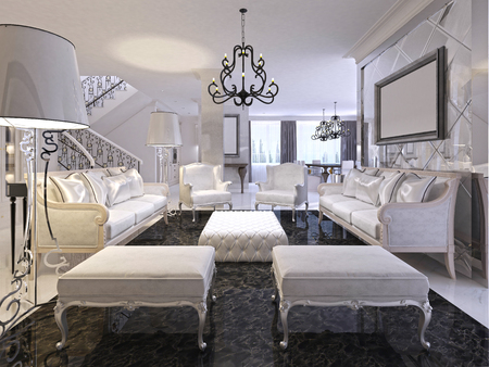 Superb Luxury White Living Room With White Furniture And Black Bralicious Painted Fabric Chair Ideas Braliciousco