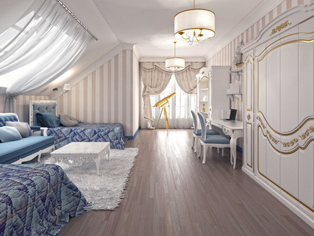 Luxury children room in classic style, with two beds and a storage system. 3D render.