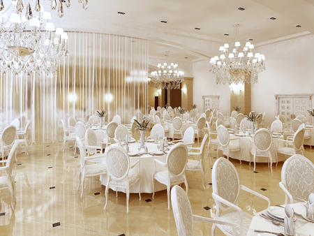 Photo pour A Grand restaurant and a ballroom in a luxury hotel. The interior design is executed in classical style. 3D render. - image libre de droit