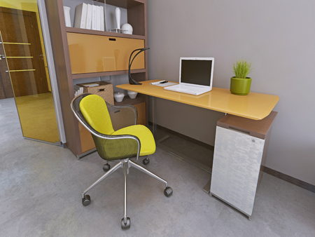 Photo pour Desk and chair in modern living room. Workspace. Furniture yellow and brown colors. 3D render. - image libre de droit