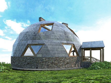 Gorgeous dome home of the future. Green Design, Innovation, Architecture. 3D rendering.