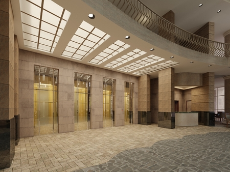 Photo for Brown marble and metal elevator hall in an hotel with a large columns. Built-in light in the ceiling. 3d rendering - Royalty Free Image