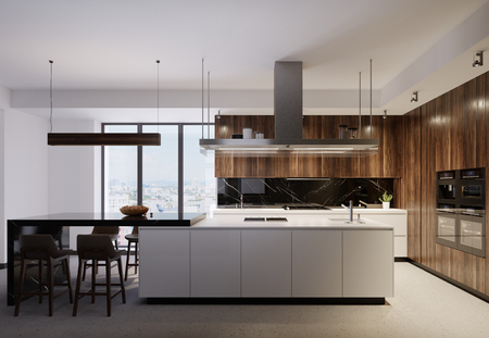 Foto de Luxurious kitchen furniture with a white bottom and wooden top, combining white and brown wooden elements. Modern contemporary kitchen. 3d rendering. - Imagen libre de derechos