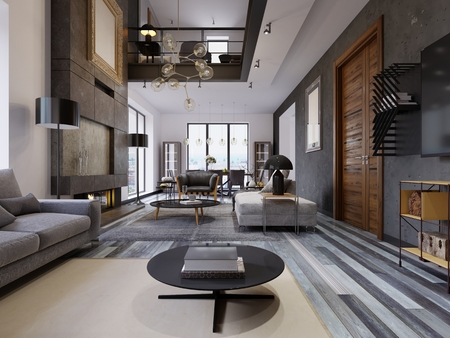 Foto de The design of the living room is very spacious with large windows, gray and white walls, gray parquet and furniture and a second level. Hardwood door on a gray wall. Large paintings on the wall. 3d rendering. - Imagen libre de derechos