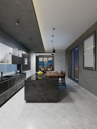 Foto de modern kitchen design with a long center island and bar table fitted with a black marble countertop, stainless steel equipment. 3D Rendering - Imagen libre de derechos