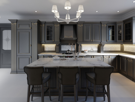 Photo for beautiful kitchen in luxury home with island, pendant lights, cabinets, and self-leveling floors. marble backsplash, elegant features. 3d rendering - Royalty Free Image
