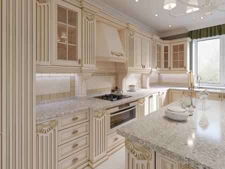 Foto de Classical wooden kitchen with wooden details, beige luxury interior design, 3d rendering - Imagen libre de derechos