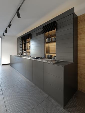 Photo for Stylish dark wooden kitchen studio interior in loft style. 3D Rendering - Royalty Free Image