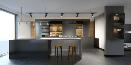 Photo pour beautiful kitchen with dark furniture of an new loft. 3d rendering. - image libre de droit