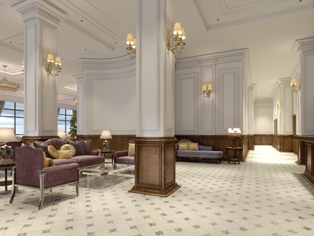 Hotel lobby in classic style with luxurious art deco furniture and mosaic tile hall. 3d rendering
