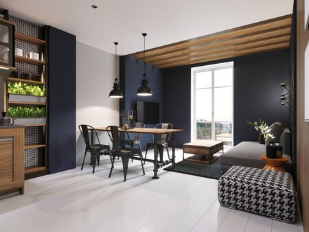 Photo for Modern sofa and dining table with iron chairs in the loft interior of a studio apartment. Dark concrete panel and wooden planks on the wall. 3D rendering. - Royalty Free Image