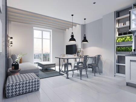 Foto de Dining room with dining table and sitting area with sofa in a modern white loft style kitchen. 3D rendering. - Imagen libre de derechos