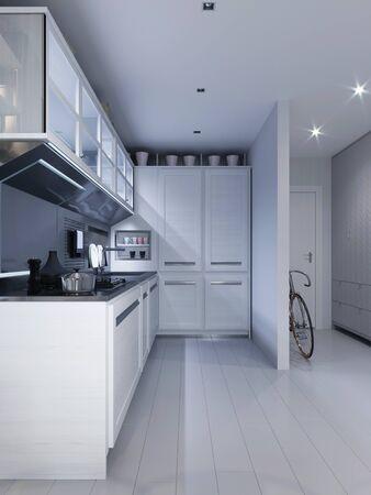 Photo pour White corner kitchen in contemporary design with modern technological furniture. 3D rendering. - image libre de droit