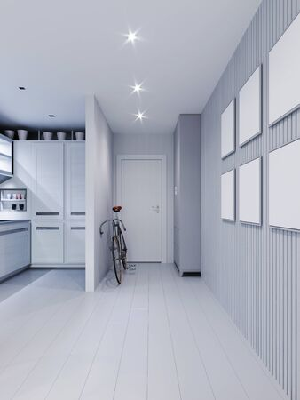 Photo pour Hall corridor passing through the kitchen, with a wooden wall of planks with paintings. 3D rendering. - image libre de droit
