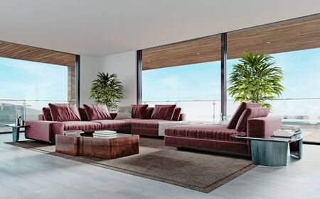 Photo pour Living room with a large pink sofa and a TV unit with shelves and decor. Living room studio with kitchen and living area. Large panoramic windows. 3D rendering. - image libre de droit