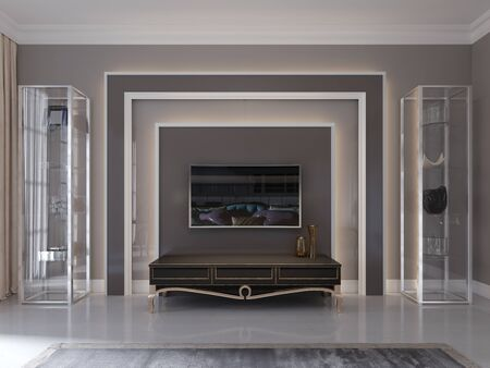Foto de Modern tv unit, tv stand in the living room art deco style. Glass shelves and shelving. 3D rendering. - Imagen libre de derechos