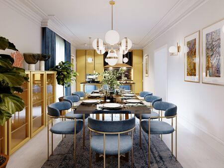 Photo pour Fashionable designer dining table, black countertop, blue chairs, yellow furniture, dining area with kitchen multi-colored meel. 3D rendering. - image libre de droit