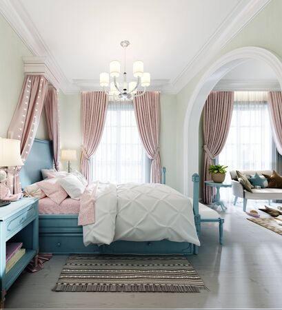 Foto de Children's bedroom with a large bed, a large window, bedside tables with books, a canopy above the bed, the interior color is pistachio, blue, pink, faded coral. 3D rendering. - Imagen libre de derechos