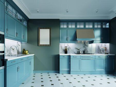 Foto de Modern kitchen furniture, dark turquoise color. Provence kitchen interior in fashionable design, faded coral, green color. 3D rendering. - Imagen libre de derechos