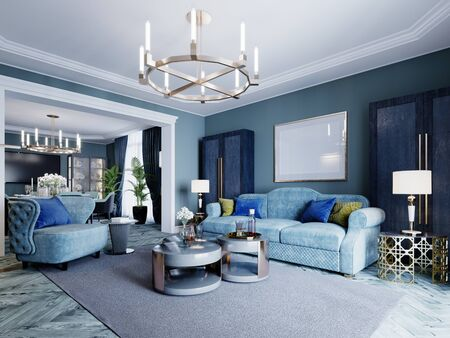 Photo pour Luxurious fashionable living room in blue and light blue colors classic style. Upholstered blue furniture, armchair, sofa, wardrobe, coffee table. 3D rendering. - image libre de droit