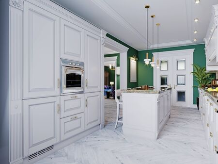 Photo pour A classic kitchen with white furniture and green walls and a white floor with a ceiling, a kitchen island and a bar counter with three chairs. 3D rendering. - image libre de droit