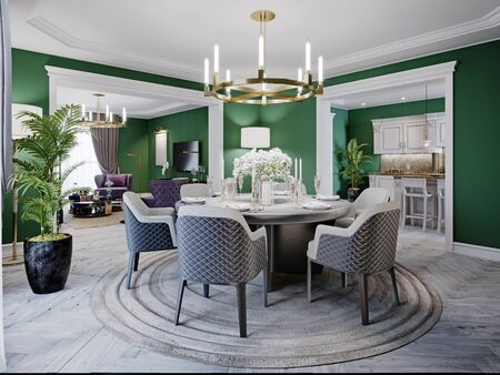 Photo pour Luxurious dining room in a large house, with a round table for six people. Leather chairs, marble countertops, TV unit, sideboard, green walls. 3D rendering. - image libre de droit