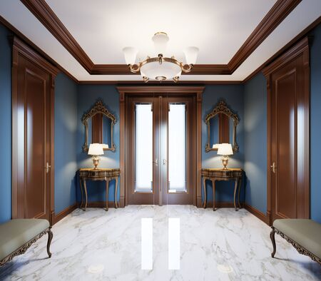 Photo pour Fashionable, modern hall in a classic style house with blue walls, brown doors and white marble floor. 3D rendering. - image libre de droit
