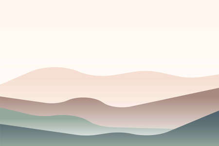 Illustration pour Landscape with Japanese wave. Beige, brown, green gray and white. Mountains and hills. Sandy dunes. Graphic design. Nature and ecology. Horizontal orientation. For social media, post cards and posters - image libre de droit