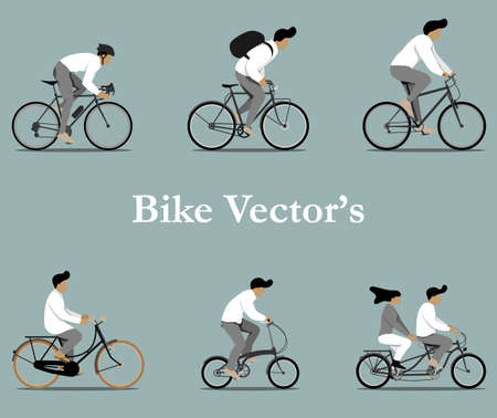 Illustration for Set of various bicycles vectors in flat design. - Royalty Free Image